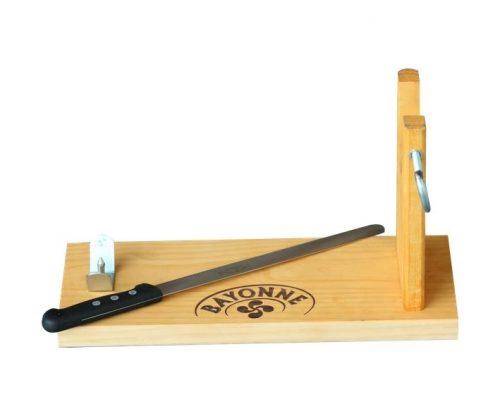 Présentoir à jambon en bois avec couteau