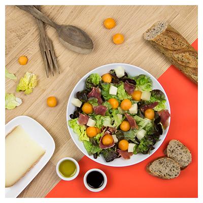Salade au Melon, Fromage de Brebis et Jambon de Bayonne